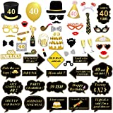 Konsait 40th Birthday Photo Booth Props, Black and Gold 40th Birthday Decorations Party Photo Props on Stick for 40th Birthday Gift Party Games Favor Supplies (53 Counts)
