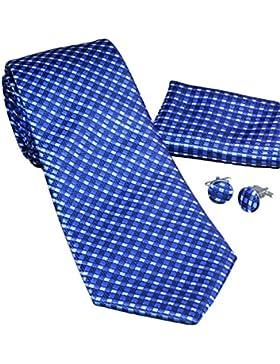 MONETTI Set de Corbata - 100% seda - Azul Negro Blanco - en la caja de regalo!