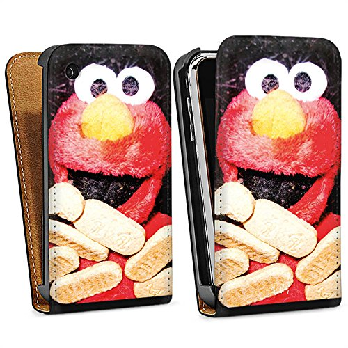 Apple iPhone 4 Housse Étui Silicone Coque Protection Oliver Rath Elmo Sesamstraße Sac Downflip noir