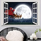 Youngnet Large 3D Santa Christmas Xmas Gift Removable Wall Sticker Office Home Decoration Art Mural Paper Decal 50cm*70cm