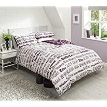 Pieridae Sleep Text Purple Duvet Cover & Pillowcase Set Bedding Quilt Blanket Set Reversible (King) by IK Trading