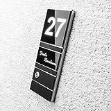 Haustür-Klingel Edelstahl-platte – LED-beleuchtet – schwarz Hochglanz – inkl. Gravur & Montagematerial – Aufputz-Montage