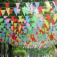 Syolee Toy 300 Pcs Pennant Banner String Triangle Flags 375 Ft Bunting Banner Nylon Fabric Decorations for Outdoor Indoor Home Party Celebrations