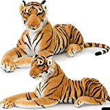 XXL Plush Tiger Lying 3.5 Foot - Extra Large Stuffed Animal Silky Soft Toy Games
