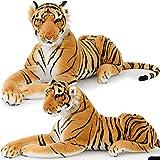 XXL Plush Tiger Lying 3.5 Foot - Extra Large Stuffed Animal Silky Soft Toy Games - Deuba - amazon.co.uk