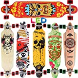 [Maronad.GCP]® Longboard Skateboard drop through Race Cruiser ABEC-11 Skateboard 104x24cm Streetsurfer skaten FUN (Modell Streetsurfer - Hawaii mit LED Leuchtrollen)
