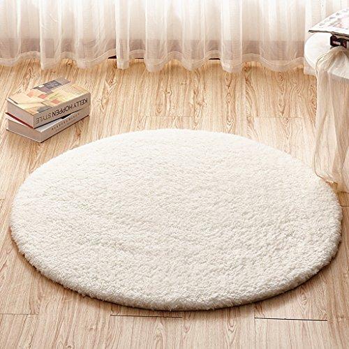 Teppiche Runder Teppich, Computer Stuhl Kissen, eine Vielzahl von Größen, mehrfarbig optional, Kinder Schlafzimmer Bedside Decke, Wohnzimmer Study Room Anti-Rutsch-Matte ( Farbe : Weiß , größe : 80cm ) (Treppen-teppich-quadrate)
