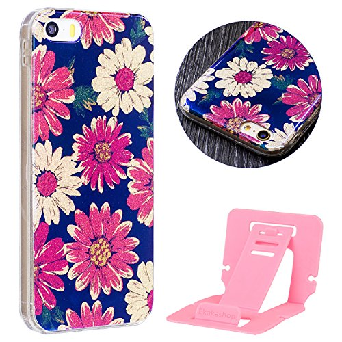 Cover iphone 6S plus 5.5, Custodia iphone 6 plus Morbido, iphone 6S plus Blu-Ray Cover, Ekakashop Colorata Painting Fiori Pattern Blu Riflettente Sparkle Glitter Brillante 3d Gel Silicone Gomma Morbid Margherita
