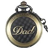 GORBEN Antike Full-Hunter Dad Quarz-Taschenuhr mit Uhrkette für Männer, Geschenke für Papa + Schachtel