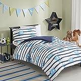 SCM POE Sets de Housses de Couettes, Parure de lit Avec Housse de Couette en Coton (Blue, 135x200cm+50x75cm)