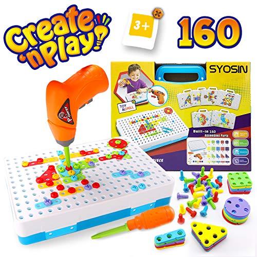 SYOSIN Steckspiel Bohrmaschine Mosaik Spielzeug Bohrer STEM Schrauben Kreatives DIY Werkzeuge Spielzeug Steckspiele für Kinder (160 Stücke)