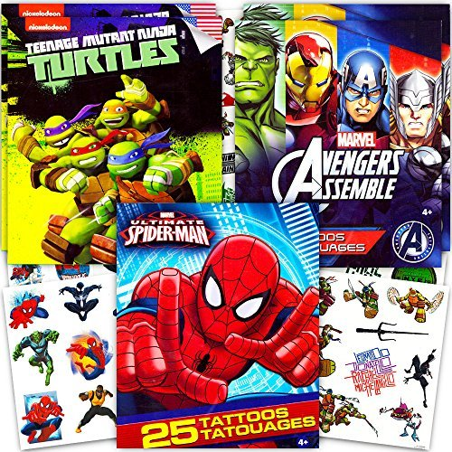 (Super Hero Party Supplies Set -- 125 Temporary Tattoos Featuring Marvel Avengers, Spiderman and Teenage Mutant Ninja Turtles! by Marvel)