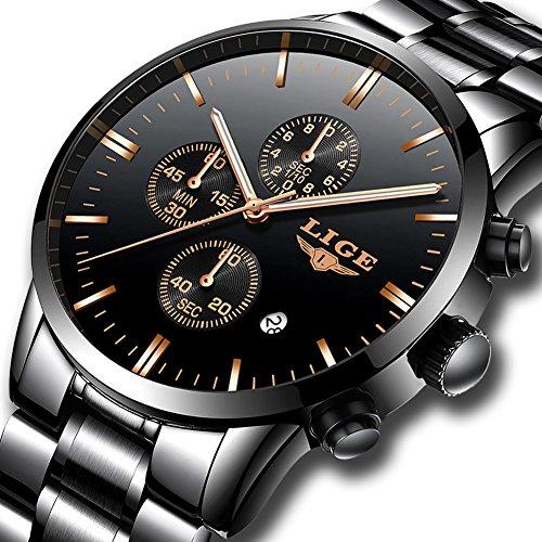 Uhren für Herren,LIGE Edelstahl Chronograph Wasserdicht Sport Analog Quarzuhr Schwarz Zifferblatt Datum Business Casual Luxus Armbanduhren Schwarz