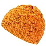 4sold Wave Damen Wurm Winter Wintermütze Style Beanie Mütze Wendemütze mit Fellbommel HAT SKI Snowboard (Neon Orange)