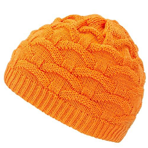 4sold Wave para Mujer Gorro de Lana Gorro Tejido Forro Gorro de Invierno Gorro de esquí y Snowboard Sombreros (Neon Orange)