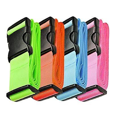 "Hibate Adjustable Luggage Straps Suitcase Travel Belts - 200cm 78"", 4 Colour"