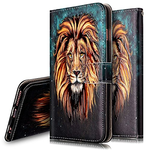 Coque Etui pour iPhone 6 Plus/6S Plus,iPhone 6S Plus Coque Portefeuille PU Cuir Etui,iPhone 6S Plus Coque de Protection en Cuir Folio Housse, iPhone 6S Leather Case Wallet Flip Protective Cover Protec Lion