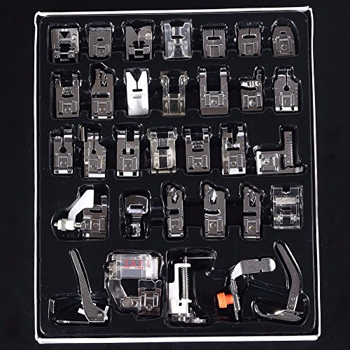 (Upgraded Version)TAPCET 32Pcs Domestic Sewing Machine Presser Foot Feet Kit Set For Janome Brother Singer