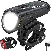 toptrek Fahrradlicht Set, LED Fahrradbeleuchtung Set akku USB Wiederaufladbare OSRAM LED-Licht, umschaltbar zwischen 50…