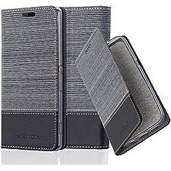 Cadorabo Coque pour Sony Xperia Z2 en Gris Noir - Housse Protection avec Fermoire Magnétique, Stand Horizontal et Fente Carte - Portefeuille Etui Poche Folio Case Cover