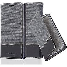 Cadorabo - Funda Estilo Book para Sony Xperia Z2 de Diseño Tela / Cuero Arificial con Tarjetero, Función de Suporte y Cierre Magnético Invisible - Etui Case Cover Carcasa Caja Protección en GRIS-NEGRO