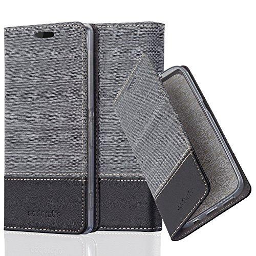 Cadorabo Hülle für Sony Xperia Z2 - Hülle in GRAU SCHWARZ – Handyhülle mit Standfunktion und Kartenfach im Stoff Design - Case Cover Schutzhülle Etui Tasche Book