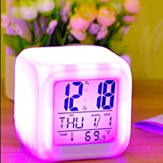 HEMV 7 Colour Changing LED Digital Alarm Clock with Date, Time, Temperature for Office and Bedroom Glowing Led Table Alarm Clock - Digital Display of Time & Temperature-1 PIS