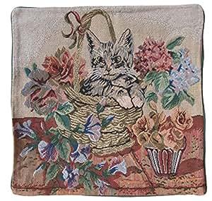 Lot de 2 housses de coussin - 40 x 40 cm motif chat housse de taie d'oreiller