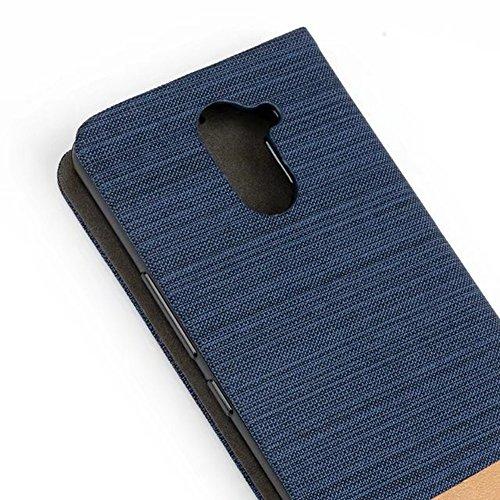 EKINHUI Case Cover Für BQ U Plus Fall Horizontale Flip Stand 2-Color gemischte Leinwand PU Leder Tasche mit Card Slot & Halter ( Color : A ) A