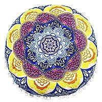 Viahwyt Super Soft Meditation Cushion Cover Indian Mandala Round Floor Pillows Bohemian Throw Pillow Cases Room Sofa Home Decor 43x43 (K)