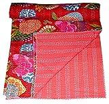 Indian Queen Quilt rot Fruit Print Decor Kantha Quilt Bettdecke, Bettwäsche Cover, Quilt, Tagesdecke Textil Vintage Überwurf, Baumwolle indischen Sari Schlafzimmer beddiing handgefertigt von Online Big Bazar