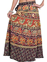 Exotic India Wrap-On Long Skirt From Pilkhuwa With Printed Paisleys And Elephants