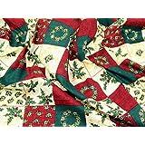 Motif patchwork en coton imprimé de Noël en tissu rouge, vert et crème–par mètre + sans Minerva Crafts Craft Guide