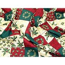 xmas Patchwork impresión Navidad tela de algodón, rojo, verde y crema–por metro