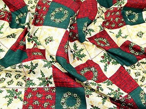 Xmas Patchwork Print Christmas Cotton Fabric Red, Green & Cream - per metre