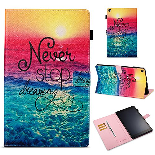 le Fire HD 10 10.1 Tablet Hülle Flip PU Leder Tasche Case Cover Wallet Standfunktion mit Kartenfächer für Neue Fire HD 10-Tablet (10,1 Zoll) - Never Stop Dreaming ()