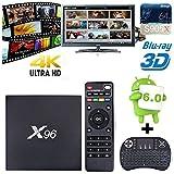 NHSUNRAY X96 Smart TV BOX Amogic S905X Quad-core Android 6.0 Smart Set Haut TV Box HDMI 2 USB 2G / 16G Supporte 3D 4K WIFI + Mini Clavier sans fil Rétro-éclairage
