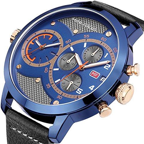 EASTPOLE Herren Armbanduhr, XXL Großes Zifferblatt Doppelbewegung Minute Zweite Chrono Datum Lederband WMB008