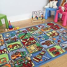 Divertida alfombra didáctica y colorida con letras del alfabeto y dibujos 133x200cm