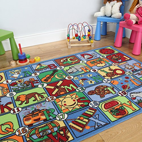 Colourful Letter & Picture Alphabet Fun & Educational Kids Rug 133x200cm