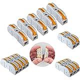 Aiqeer 55 Piezas SPL-1 Palanca Tuerca Cable Conectores Set, 1 in 1 out Conector Conductor Compacto, Bilateral Rápido Resorte