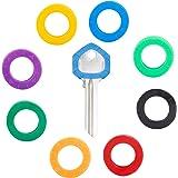 Uniclife 24 STUKS Kleine 2 cm Key Caps Covers Tags, Plastic Sleutel Identificatie Codering Ringen in 8 Verschillende Kleuren