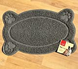 New Pet Feeding Mat Paw/Straight,Dog/Puppy/Cat/Kitten PlaceMat/Dish/Bowel, PVC ( 2 design . 2 colors ) (straight shape, grey)