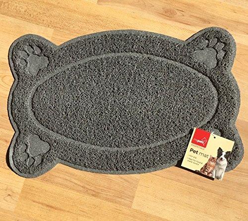 New Pet Feeding Mat Paw/Straight,Dog/Puppy/Cat/Kitten PlaceMat/Dish/Bowel, PVC ( 2 design . 2 colors ) (straight shape, grey)