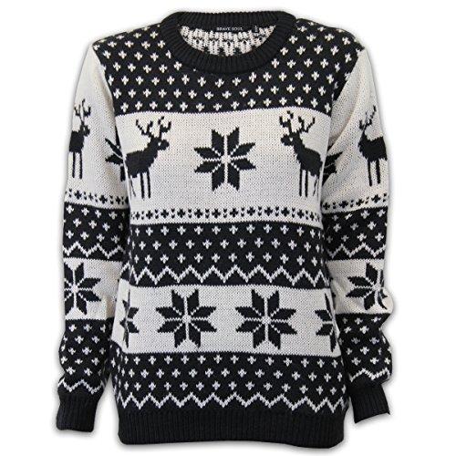 femmes Brave Soul Pull de Noël Noël nouveauté tricot Renne Rudolf pompon hiver Noir/Crème - 27DASHER