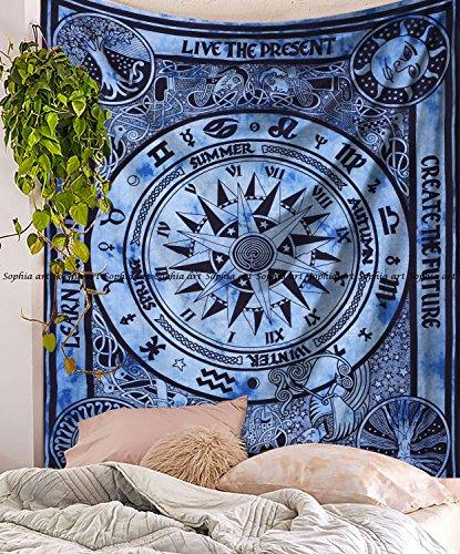 rau Keltisches Cycle Mandala Tapisserie Psychedelic Hippie Mandala Wandbehang Decor Wohnheim Bohemian Tagesdecke Bettwäsche Bett Bezug Picknick Decke (Grau) ()