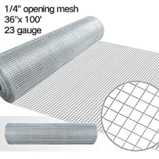 36-Inch-by-100-Foot 1/4-by-1/4-Inch Mesh 23-Gauge Hot-dipped Galvanized Hardware Cloth, Silver Amagabeli