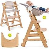 Hauck Beta Plus Newborn Set - Baby Holz Hochstuhl ab Geburt mit Liegefunktion / inkl. Aufsatz für Neugeborene, Sitzpolster, Tisch / mitwachsend, höhenverstellbar - Natur Beige