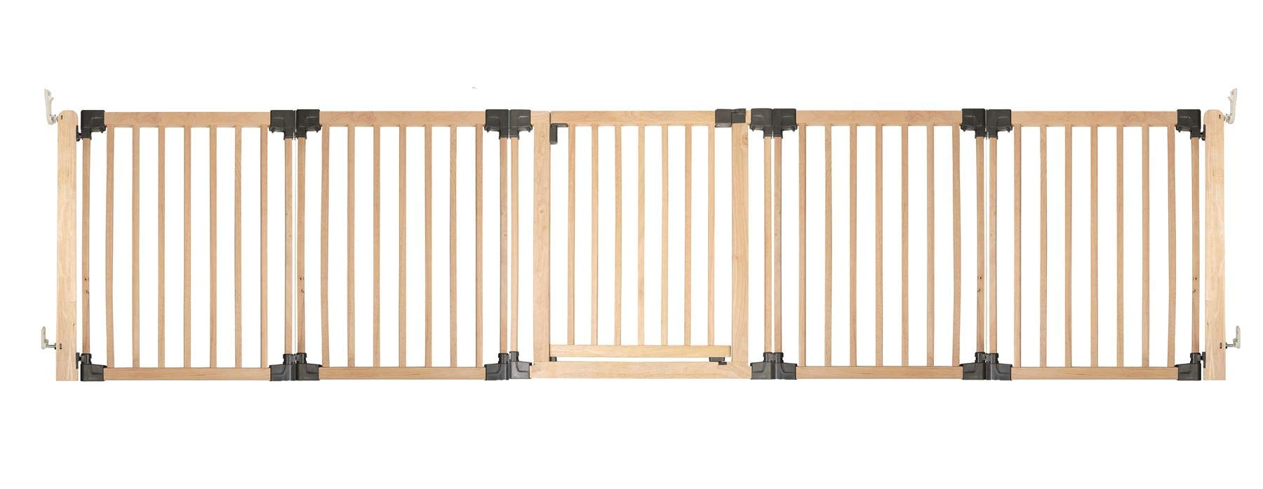 Safetots Wooden Multi Panel Room Divider Up to 336.5CM Safetots Made from premium grade wood designed to compliment all home interiors Each panel can be angled as required to make custom fit room dividing configurations This configuration comes complete with a wall mounting kit, one 80cm gate panel and four 60cm extension panels 1