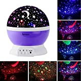 Intsun Novelty 360 Rotating Round Night Light Projector Lamp (Star Moon Sky Projector, 3 Model Light, USB Powered) Romantic Home Decoration Light Great Gift for Christmas Children (Purple)